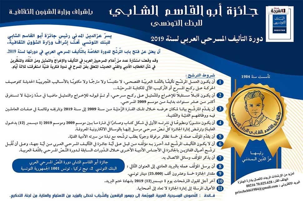 بتونس: شروط جائزة أبو القاسم الشّابي